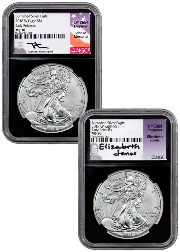 2-Coin Set - 2018-W Burnished American Silver Eagle NGC MS70 ER Black Core Holder Mercanti + Jones Signed Labels