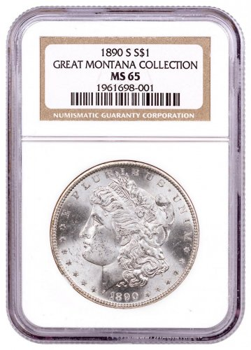 1890-S Morgan Silver Dollar From the Great Montana Collection NGC MS65