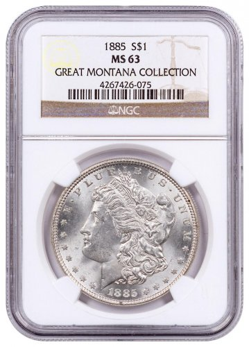 1885 Morgan Silver Dollar From the Great Montana Collection NGC MS63
