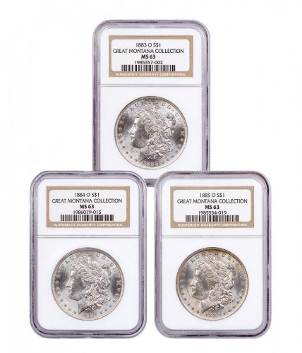 3-Coin Set - 1883-1885-O Silver Morgan Dollar From the Great Montana Collection NGC MS63 Display Box with Morgan Guide