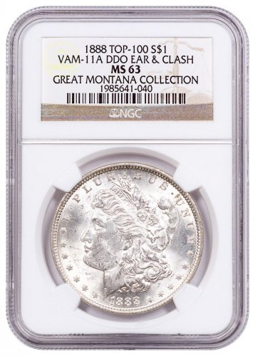 1888 Morgan Silver Dollar From the Great Montana Collection NGC MS63 VAM-11A DDO Ear & Clash