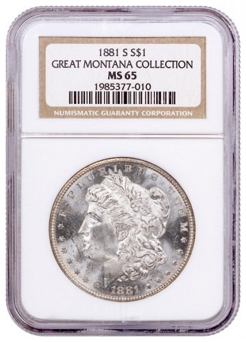 1881-S Morgan Silver Dollar From the Great Montana Collection NGC MS65