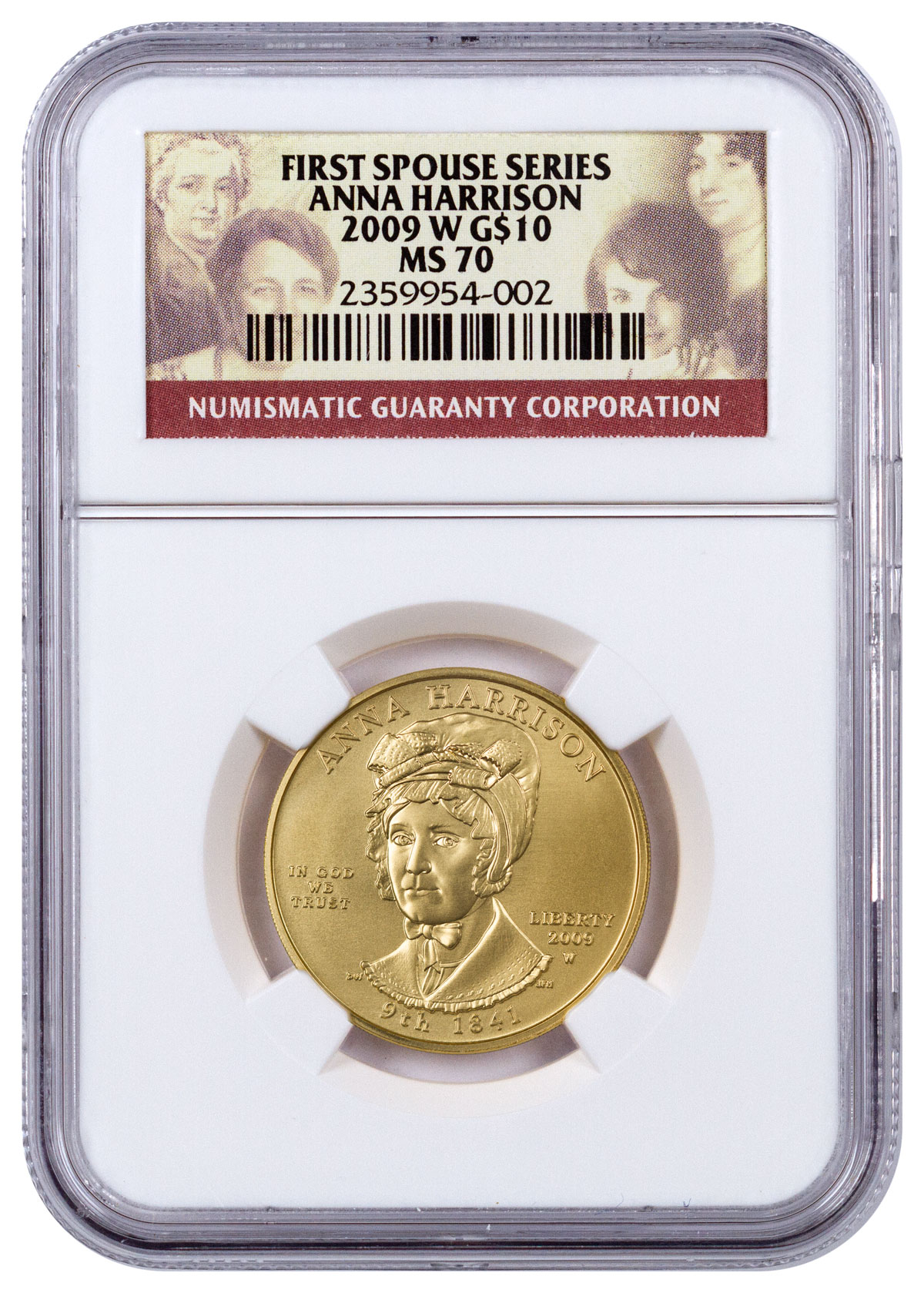 2009-W Anna Harrison First Spouse Gold $10 Coin NGC MS70