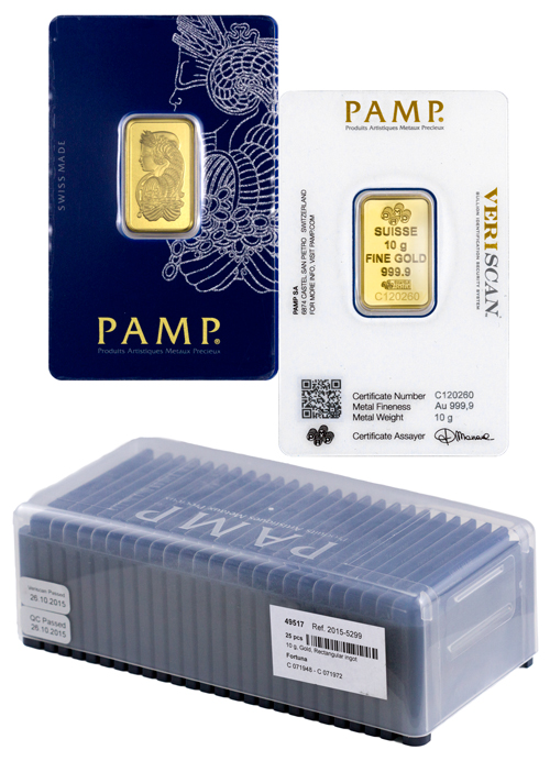 PAMP Suisse 10g Gold Bar Fortuna Design - Box of 25 Bars - (New Sealed With VeriScan Assay Certificate)