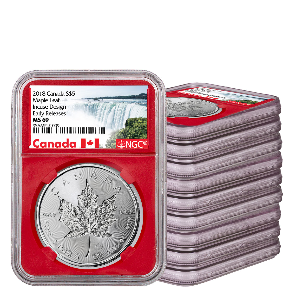 Group of 9 + 1 Free Coin - 2018 Canada 1 oz Silver Maple Leaf - Incuse $5 Coins NGC MS69 ER NGC Box Red Core Holder Exclusive Canada Label