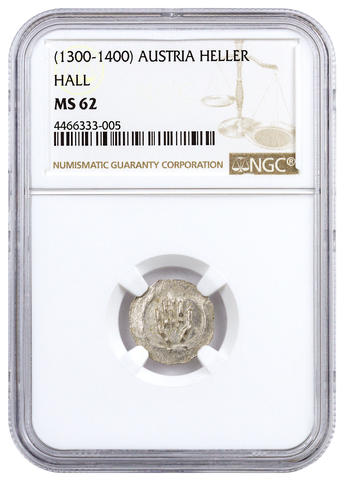 1300-1400 Austria Hall Silver Hand Heller NGC MS62 Story Vault