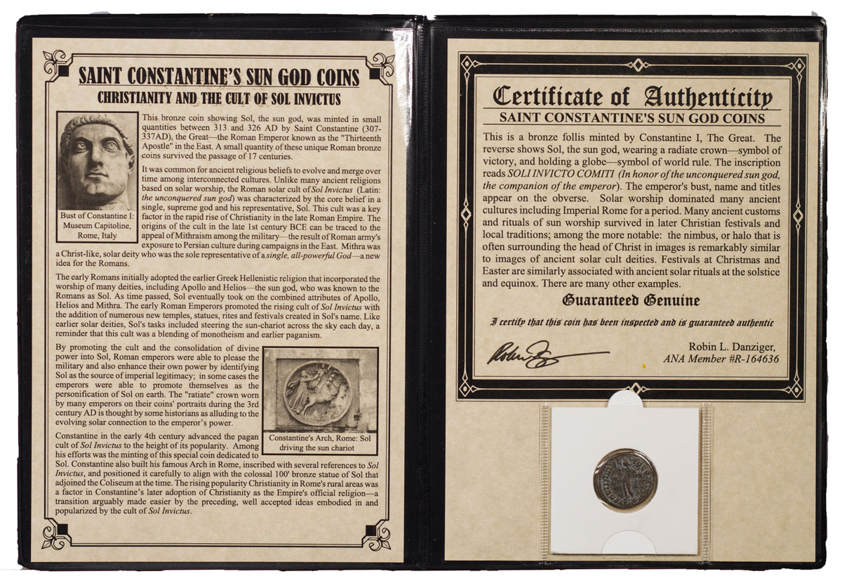 Roman Empire, Billon Nummus of Constantine I (AD 313-326) - Saint Constantine's Sun God (Presentation Portfolio with COA)