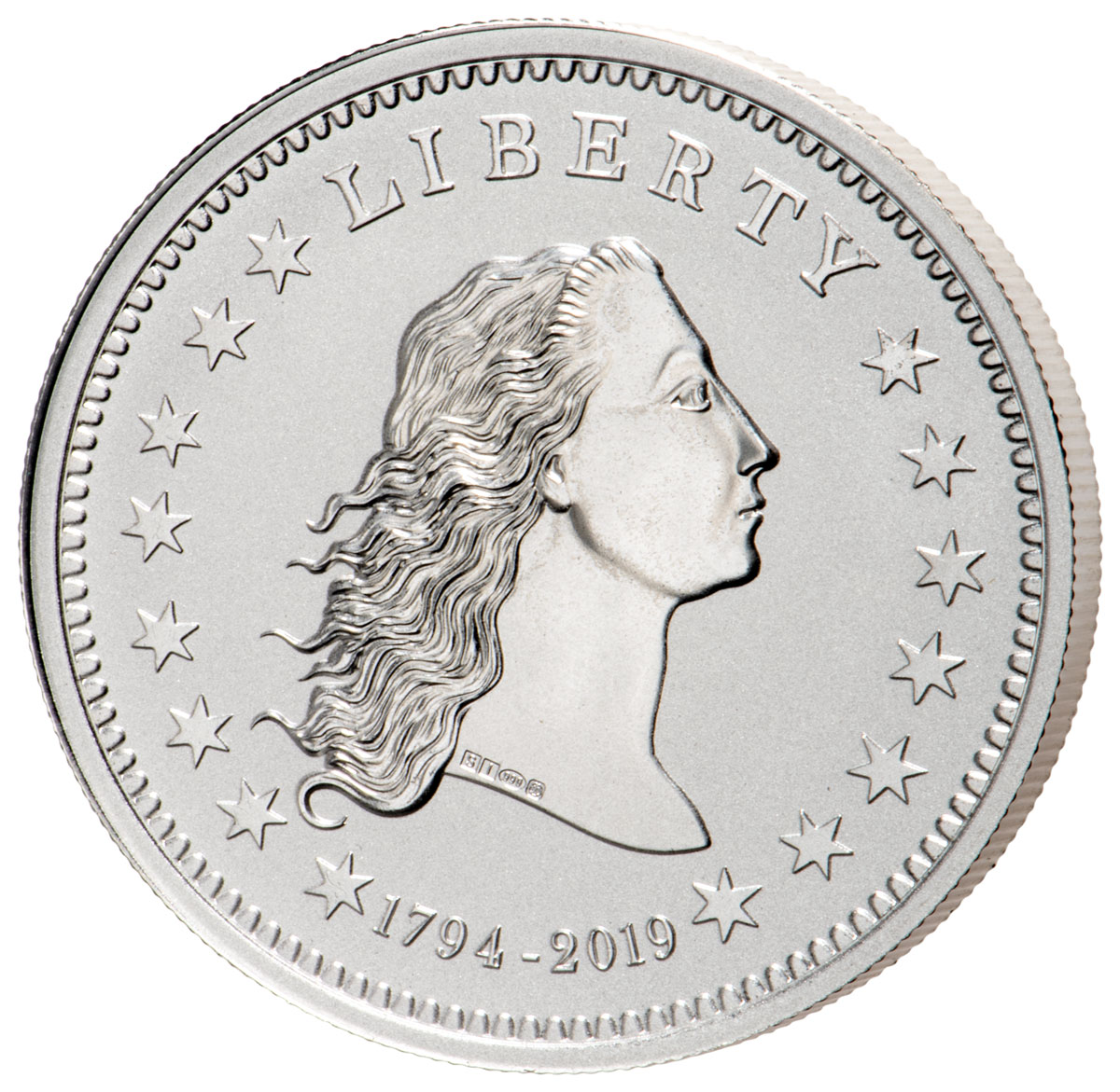 1794-2019 Smithsonian - America's First Silver Dollar 1 oz Silver Reverse Proof Medal GEM Proof