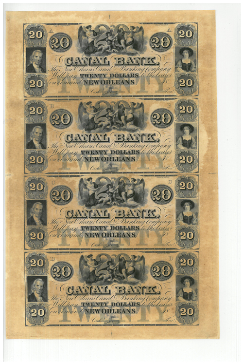 1800's New Orleans Canal Bank - $20 Note - Uncut Sheet of 4 Notes