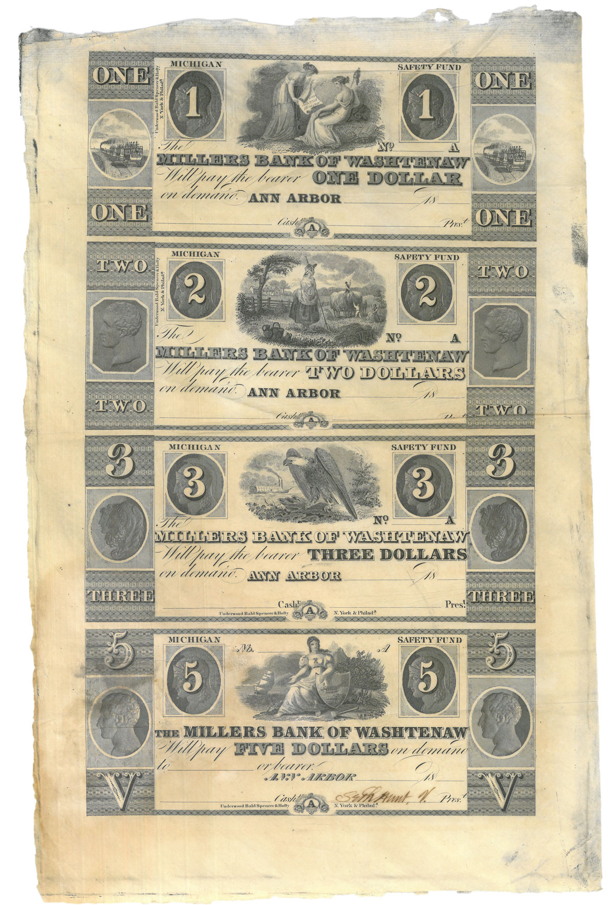 1860 Uncut Sheet of Obsolete Bank Notes - Millers Bank of Washtenaw Safety Fund Ch XF 45