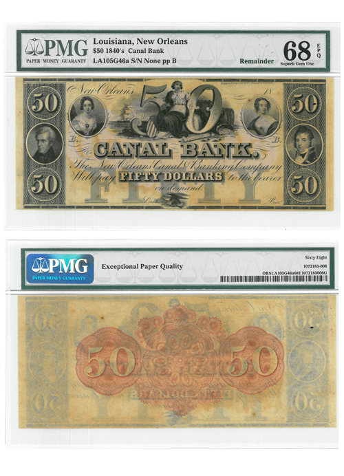 1840's $50 Note Canal Bank - New Orleans - PMG Superb Gem Unc 68