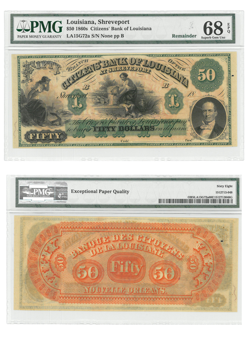 1860's $50 Note The Citizens Bank of Louisiana at Shreveport - PMG Superb Gem Unc 68 EPQ
