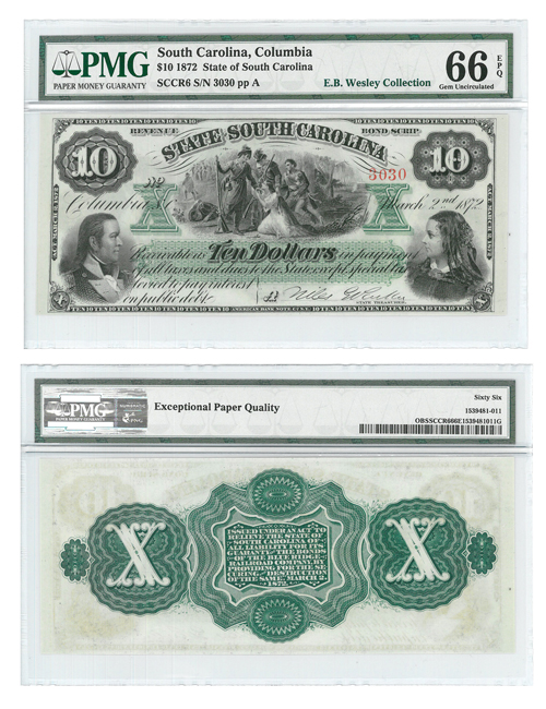 1872 State of South Carolina $10 Note - PMG Gem Unc 66 EPQ (E. B. Wesley Collection)