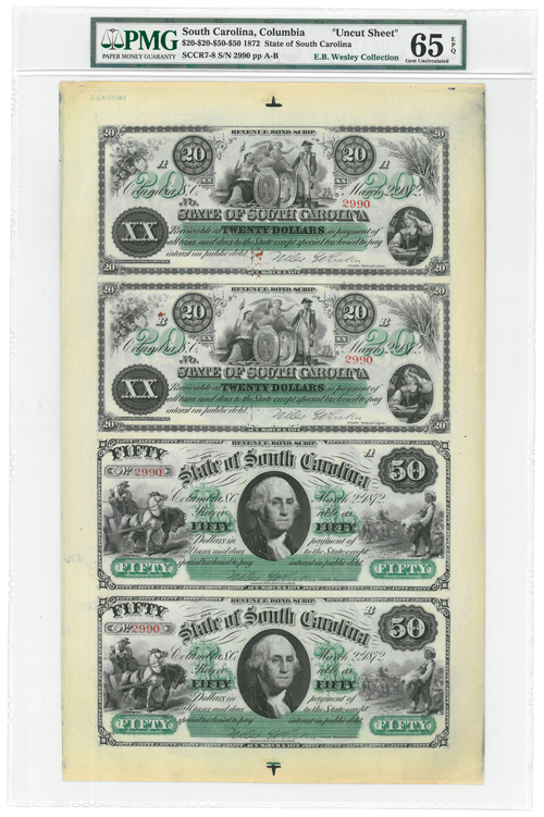 1872 State of South Carolina $20/$50 Uncut Notes - Sheet of 4 - PMG Gem Unc 65 EPQ (E. B. Wesley Collection)
