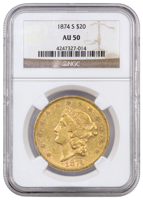 1874 S Liberty Head 20 Gold Double Eagle Ngc Au50
