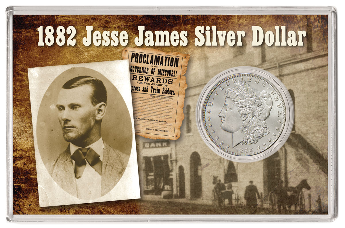 1882 S Jesse James Morgan Silver Dollar Gem Bu In A