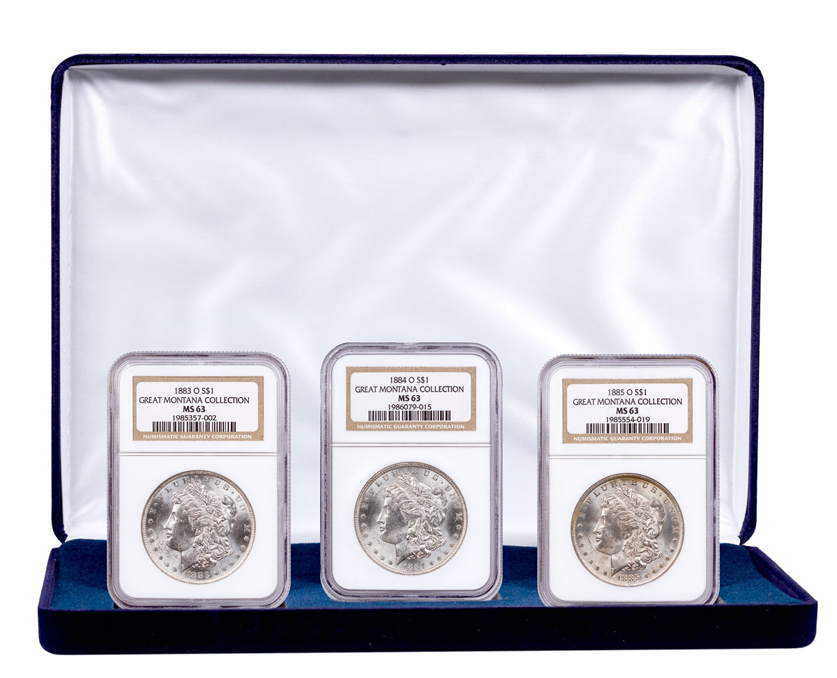 3-Coin Set - 1883-1885-O Silver Morgan Dollar From the Great Montana Collection NGC MS63 Display Box