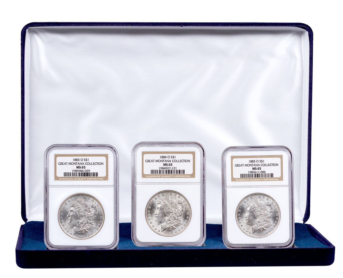 3-Coin Set - 1883-1885-O Silver Morgan Dollar From the Great Montana Collection NGC MS65 Display Box