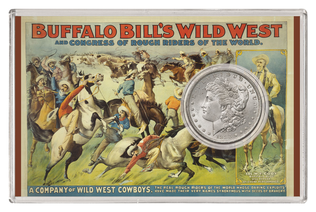 1883-O Morgan Silver Dollar GEM BU Buffalo Bill Wild West Packaging