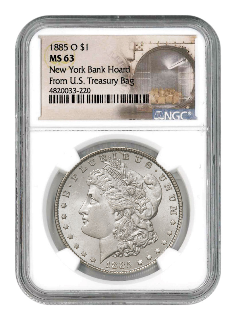 1885-O Morgan Silver Dollar From the New York Bank Hoard NGC MS63