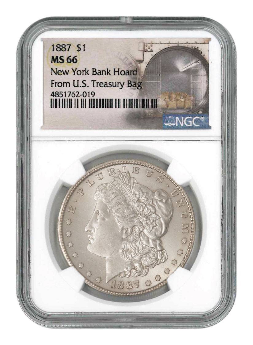 1887 Morgan Silver Dollar From the New York Bank Hoard NGC MS66