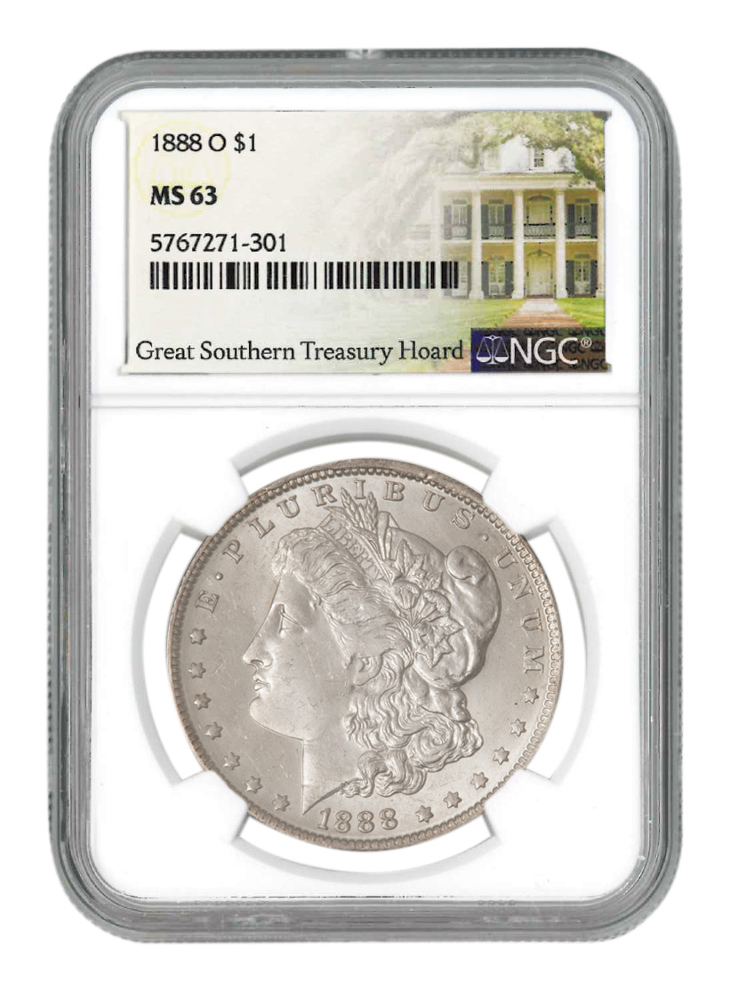 1888-O Morgan Silver Dollar NGC MS63 Great Southern Hoard with 3 Storybooks Treasury Hoard Label