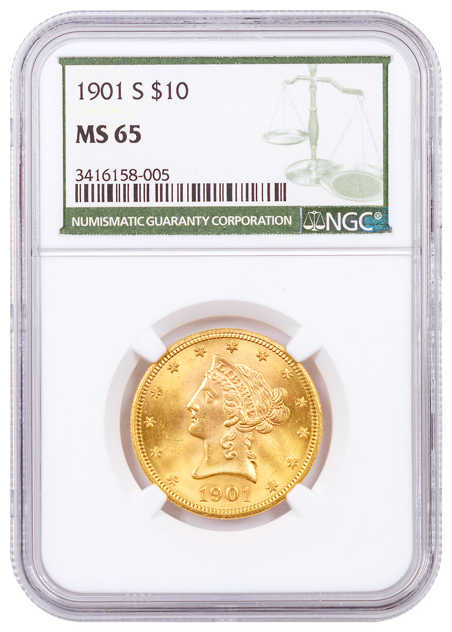 1901-S Liberty Head With Motto $10 Gold Eagles NGC MS65 Green Label