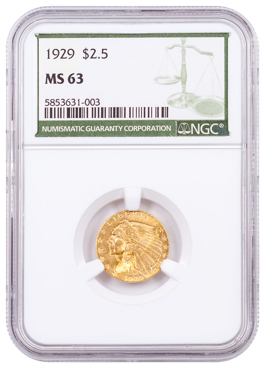 1929 Indian Head $2.50 Gold Quarter Eagle NGC MS63 Green Label