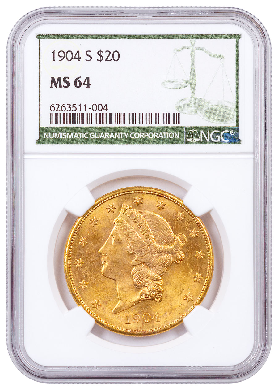 1904-S Liberty Head $20 Gold Double Eagle NGC MS64 Green Label