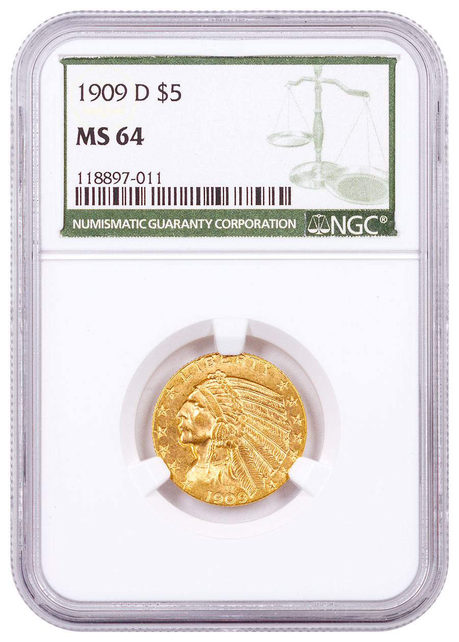 1909-D Indian Head $5 Gold Half Eagle NGC MS64 Green Label