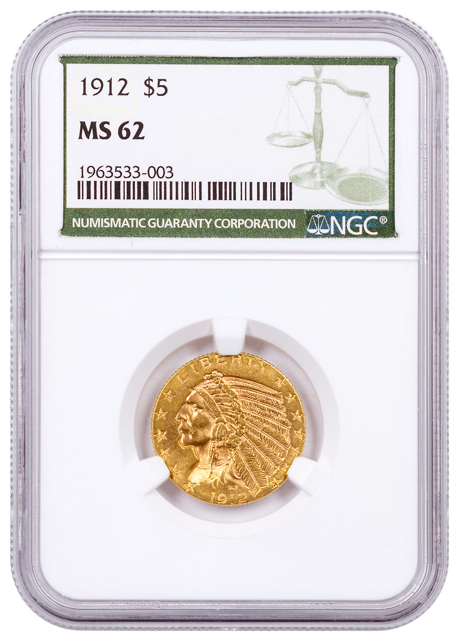 1912 Indian Head $5 Gold Half Eagle NGC MS62 Green Label