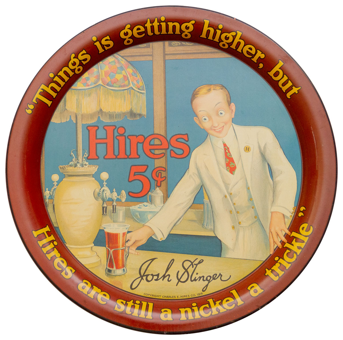 Hires Root Beer 1915 Tin Lithograph Serving Tray