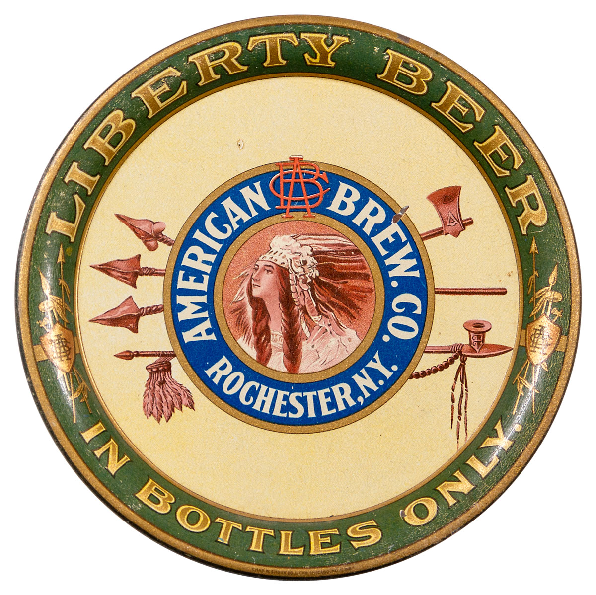1920's Liberty Beer American Brewing Co. Pre Prohibition Tip Tray Excellent