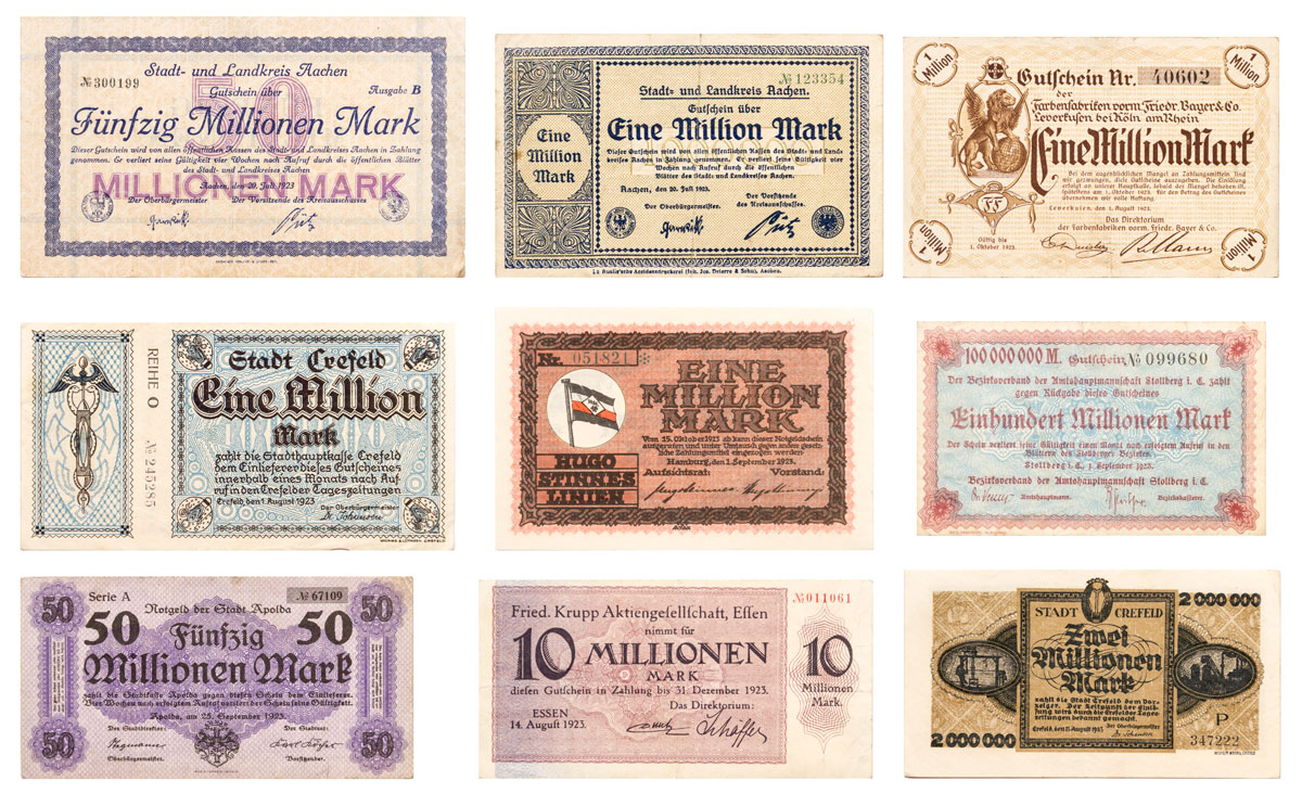 Set of 9 - Weimar Germany Inflationary Notes c.1923