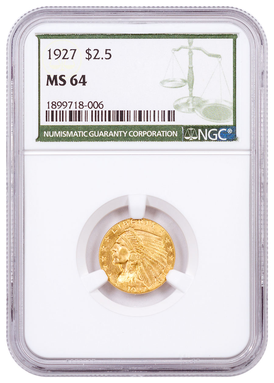 1927 Indian Head $2.50 Gold Quarter Eagle NGC MS64 Green Label