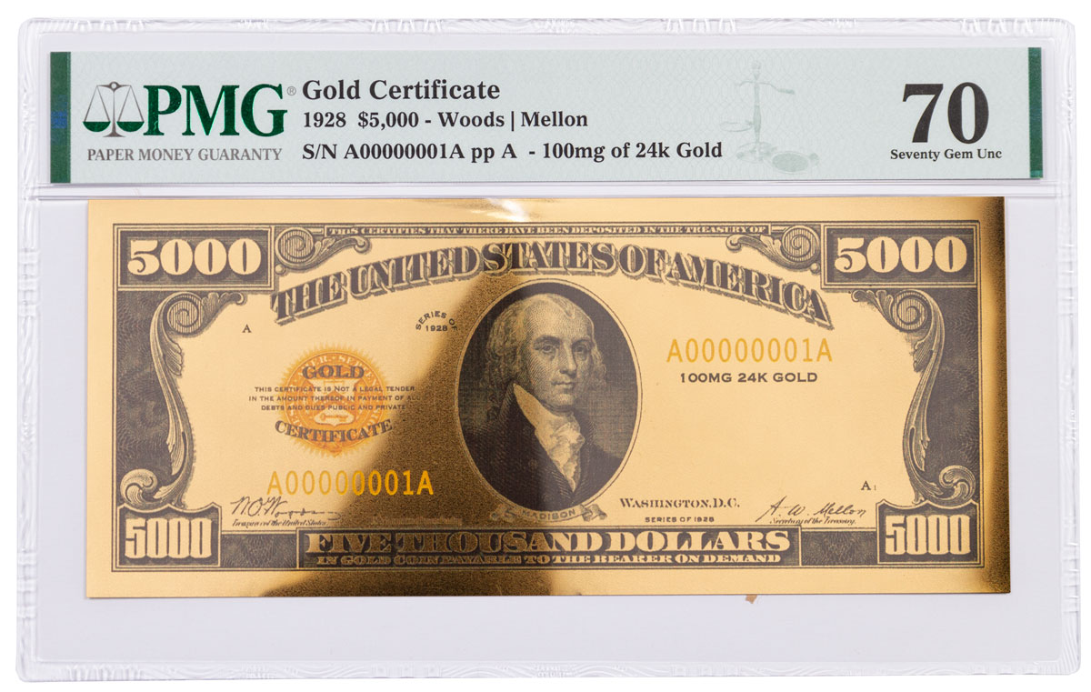 1928 $5,000 24KT Gold Certificate Commemorative PMG 70 Gem Unc