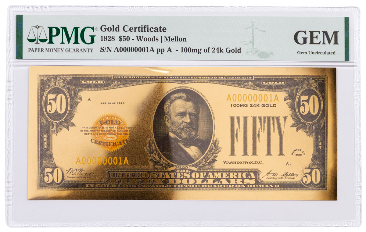 1928 $50 24KT Gold Certificate Commemorative PMG GEM Uncirculated