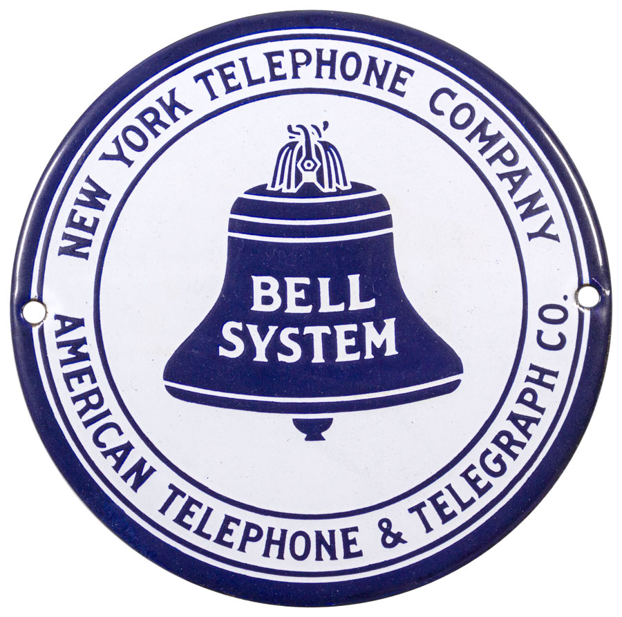 1930's Bell System New York Telephone Porcelain Sign Excellent