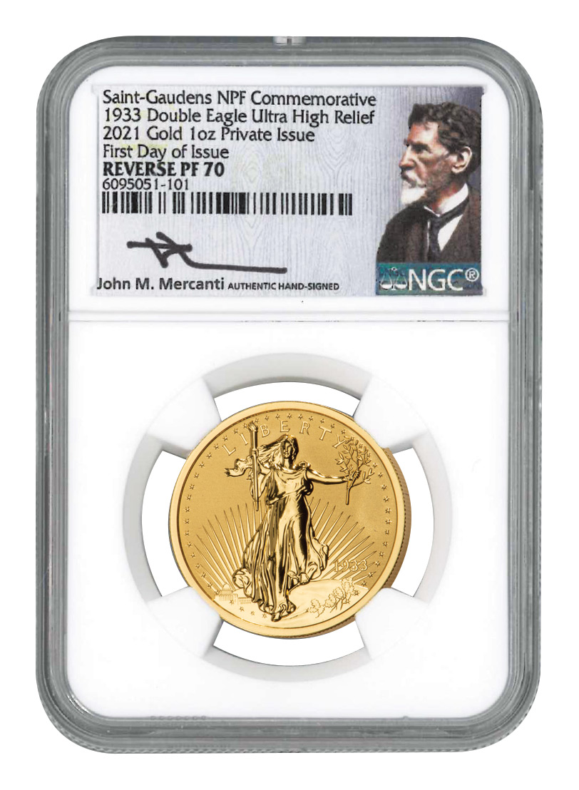1933-2021 NPF Saint-Gaudens Double Eagle Ultra High Relief 1 oz Gold Reverse Proof Medal Scarce and Unique Coin Division NGC PF70 FDI Exclusive Mercanti Signed Label