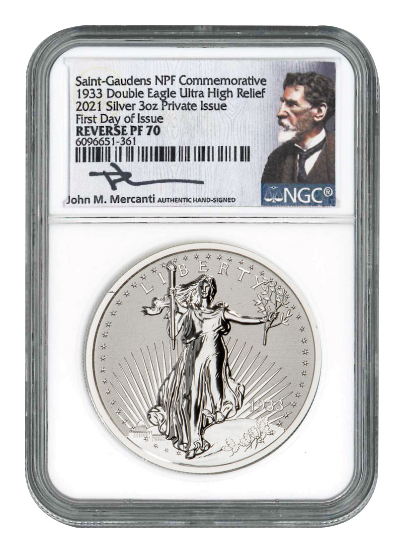 1933-2021 NPF Saint-Gaudens Double Eagle 3 oz Silver Reverse Proof Medal Scarce and Unique Coin Division NGC PF70 FDI Exclusive Mercanti Signed Label