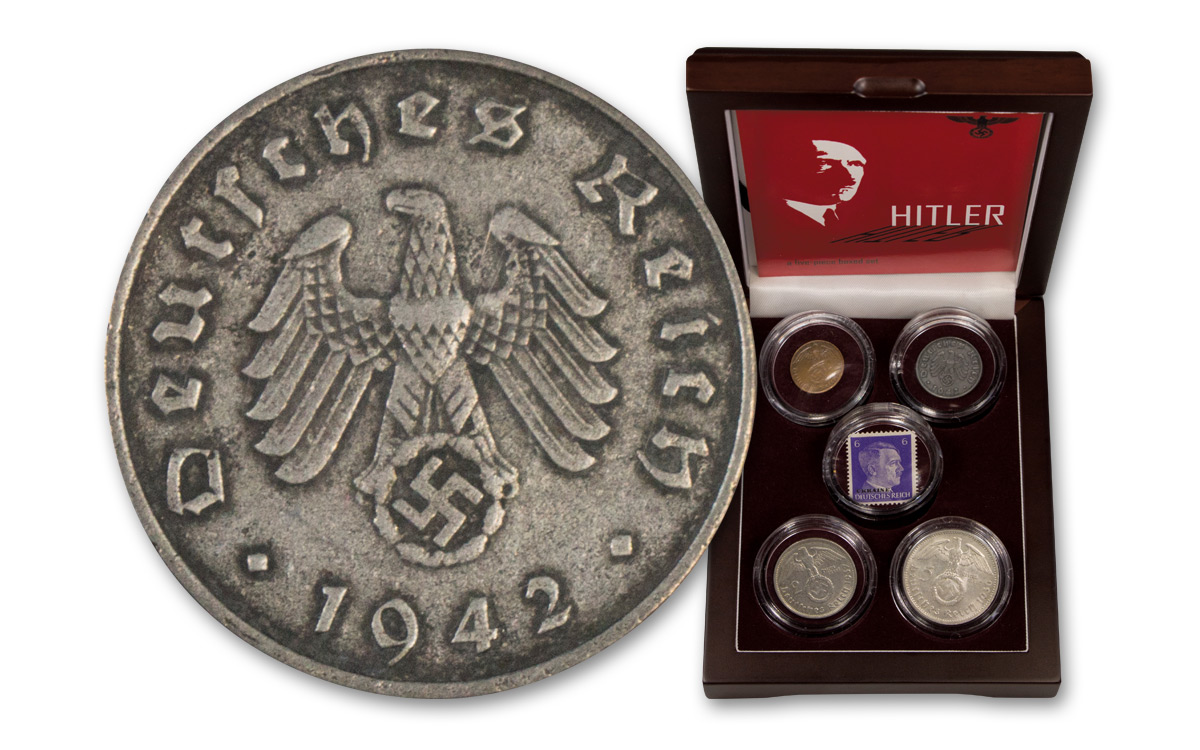 4-Piece Set - 1936-1945 Hitler Coin Collection with Stamp in Deluxe Presentation Case