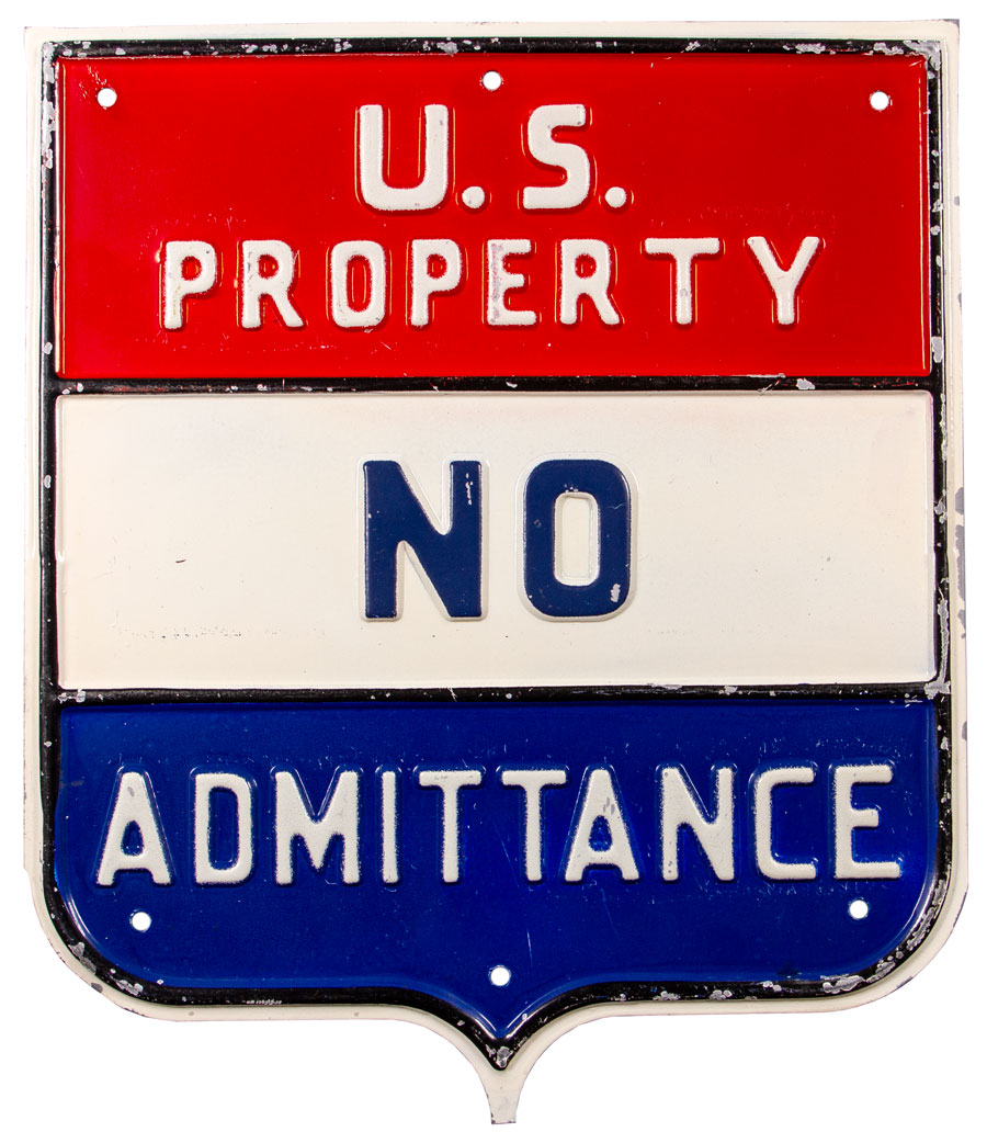 1940-50's US Property No Admittance Embossed Metal Sign Excellent