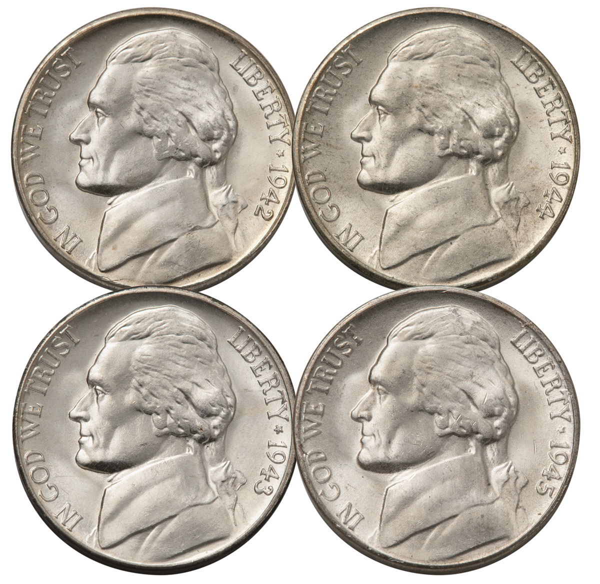 4-Piece Set - 1942-1945 Jefferson War Nickel Set BU