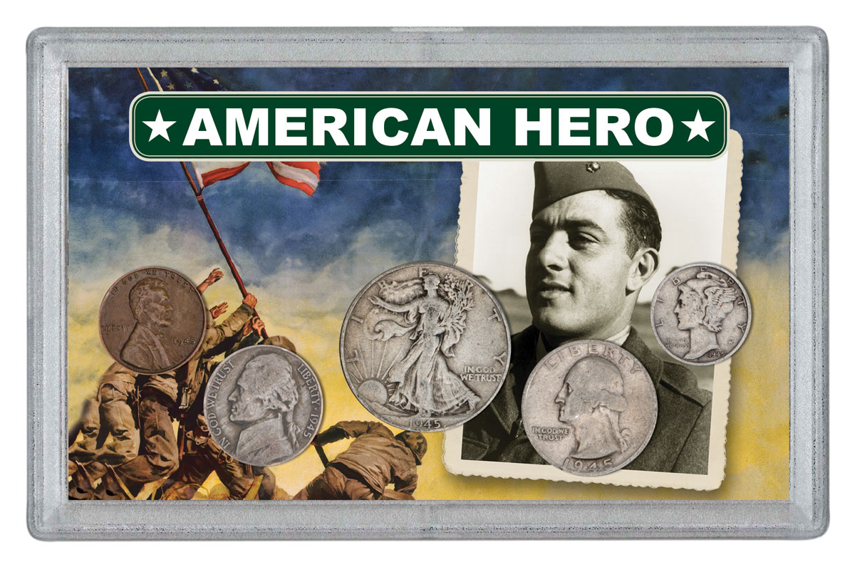 5-Piece Set - 1945 American Hero Basilone Collection in Sealed Display Block + Note
