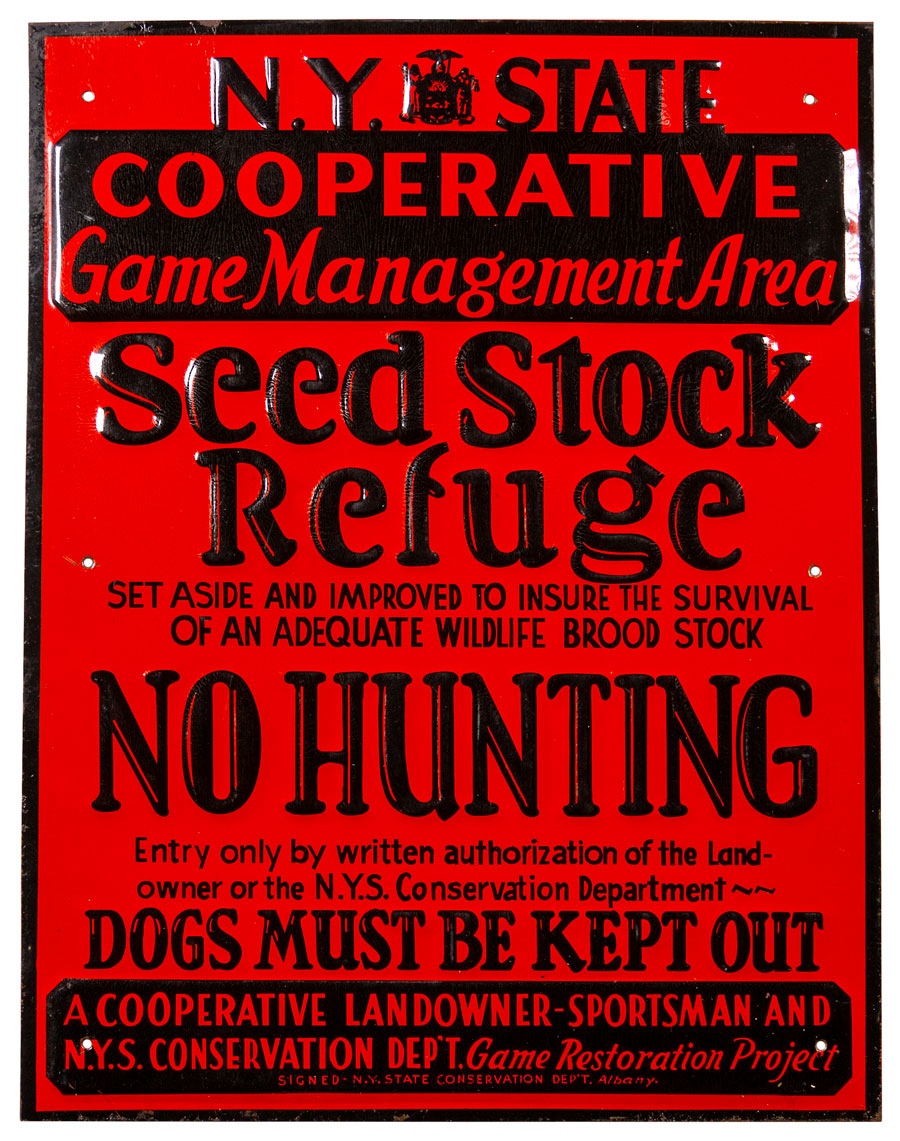 1950-60's New York Seed Stock Embossed Tin Sign Excellent