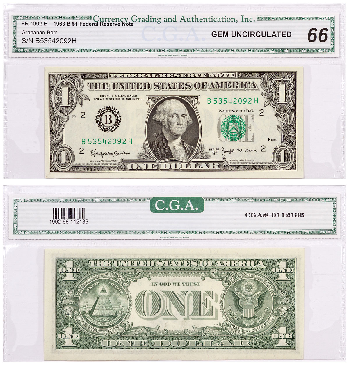 1963-B $1 Federal Reserve Note CGA Gem Unc 66