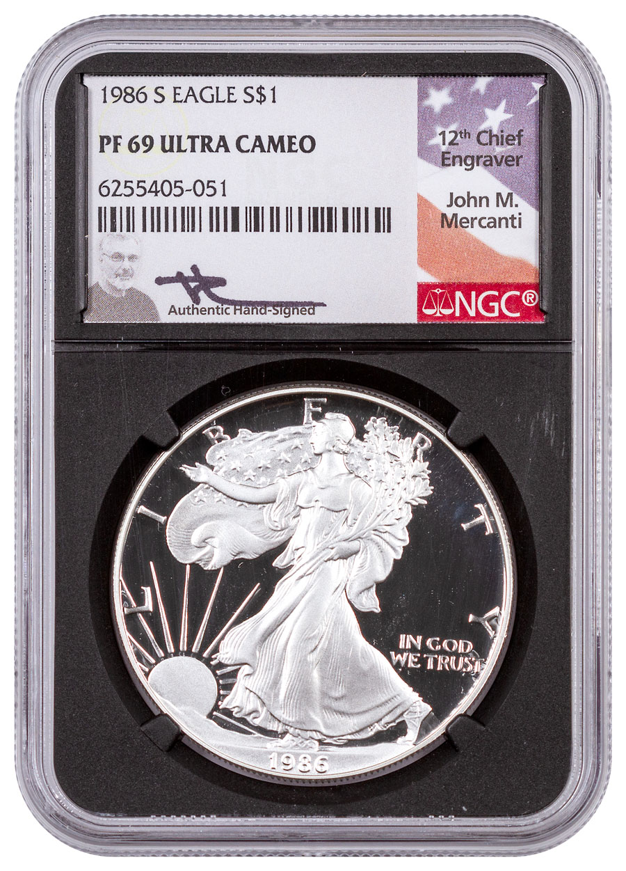 1986-S Proof American Silver Eagle NGC PF69 UC Black Core Holder Mercanti Signed Label