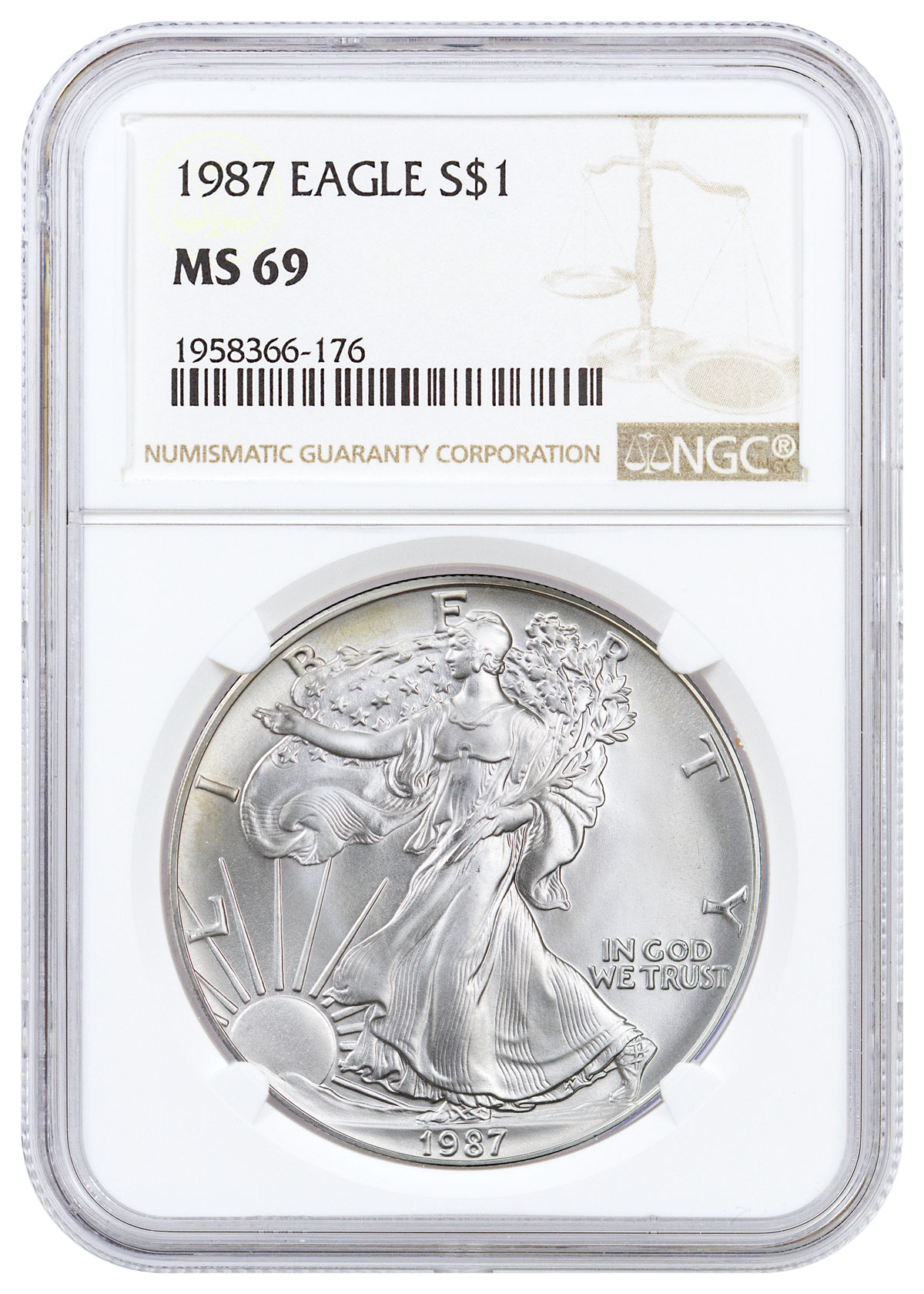1987 1 Oz American Silver Eagle 1 Ngc Ms69 Brown Label