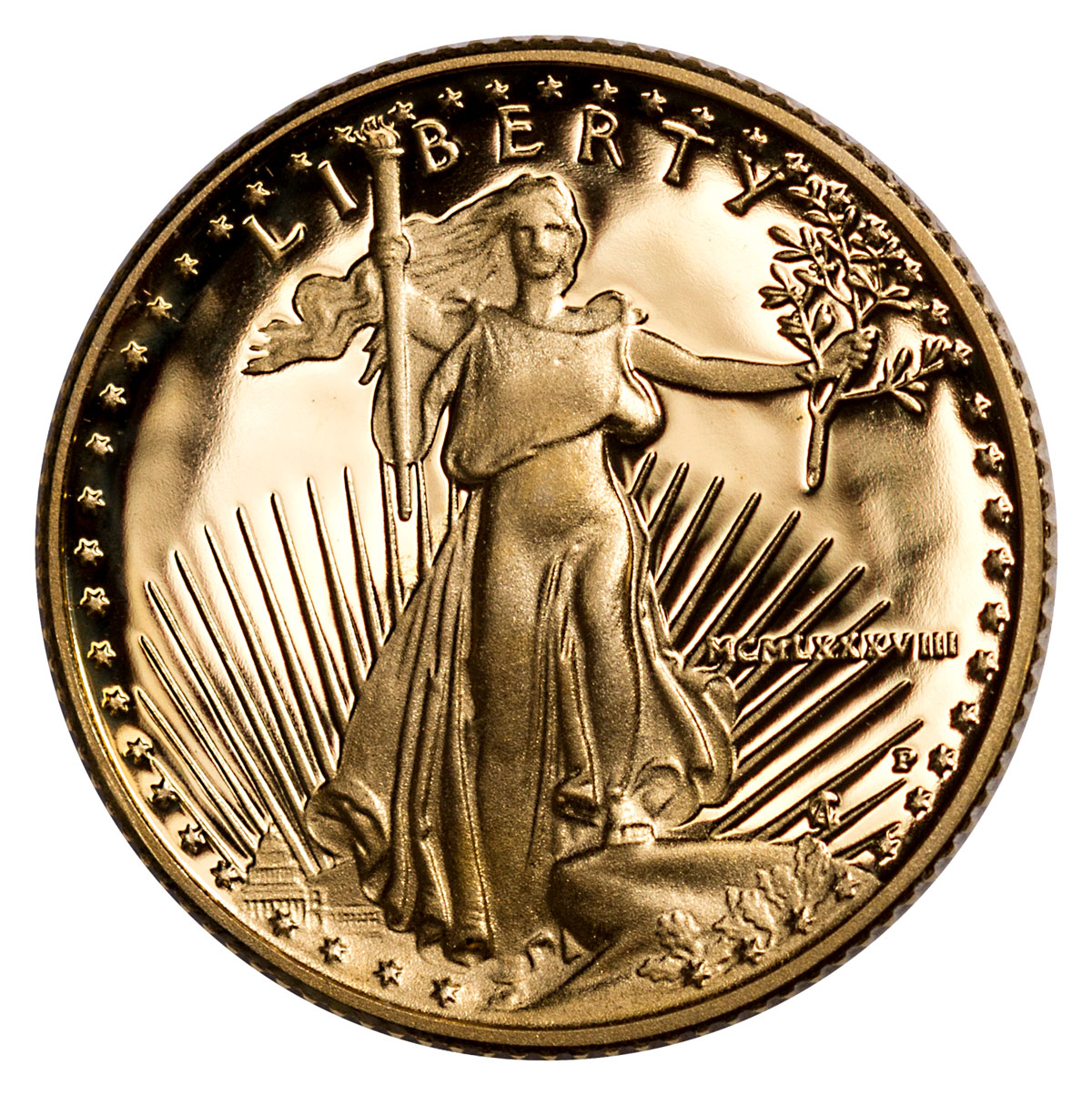 1988-P 1/10 oz Gold American Eagle Proof $5
