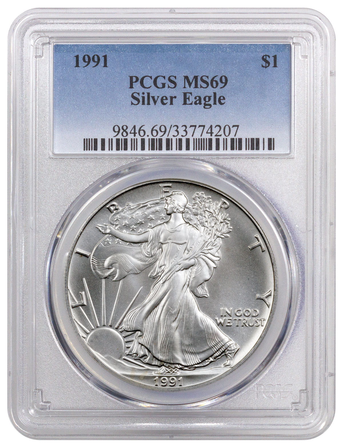 1991 American Silver Eagle Pcgs Ms69 Moderncoinmart